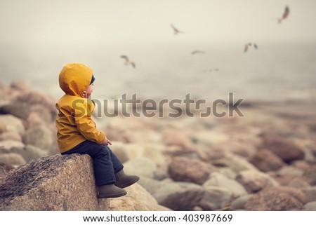 Little boy in yellow raincoat is sitting on rocky shore of Finnish Gulf and looking at the sea and gulls. Image with selective focus and toning - stock photo