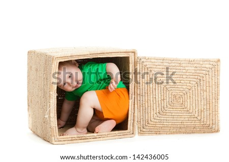 little boy  inside a box on a white background - stock photo