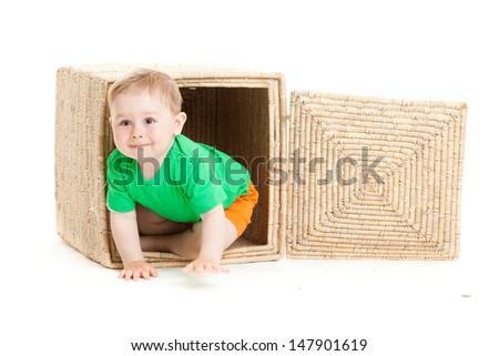little boy inside a box on a white background - stock photo