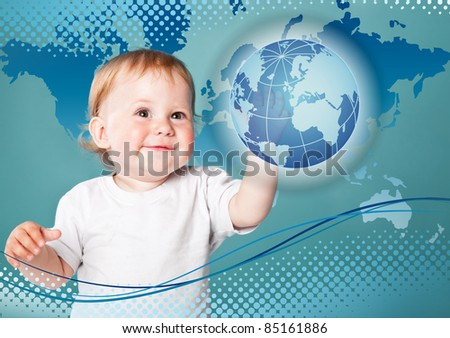 Little boy is looking at planet Earth. Blue background - stock photo