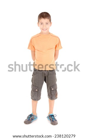 little boy isolated in white background - stock photo
