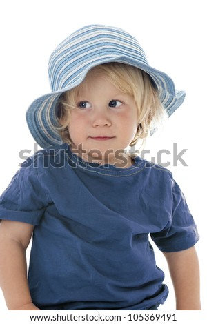 Little boy isolated on white - stock photo