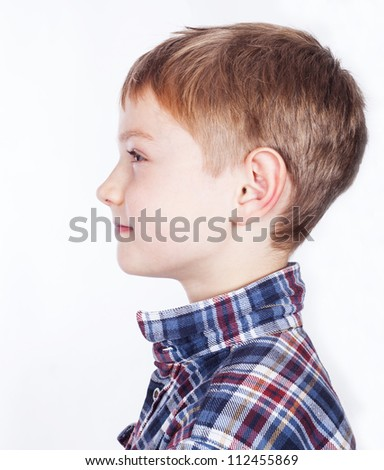 Little boy, isolated on white background.