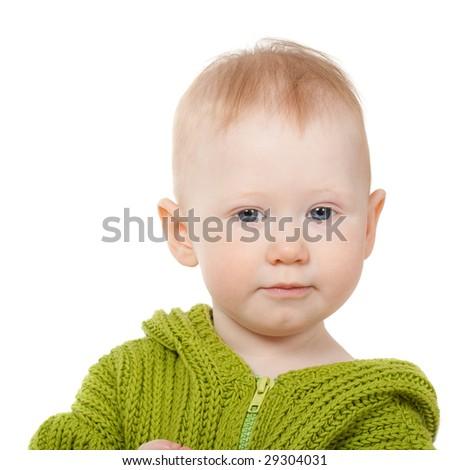 little boy isolated on white portrait - stock photo
