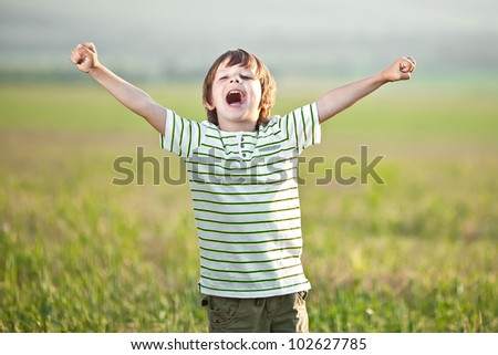 Little boy jumping for joy on a meadow in a sunny day - stock photo