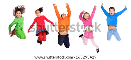 little boy jumping isolated in white