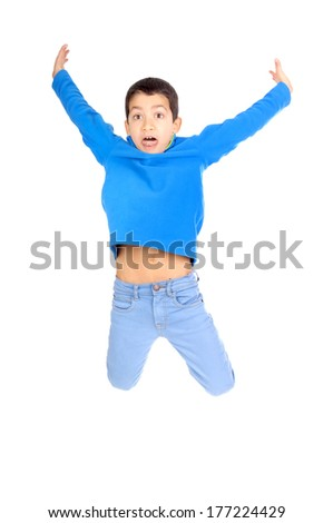 little boy jumping isolated in white - stock photo