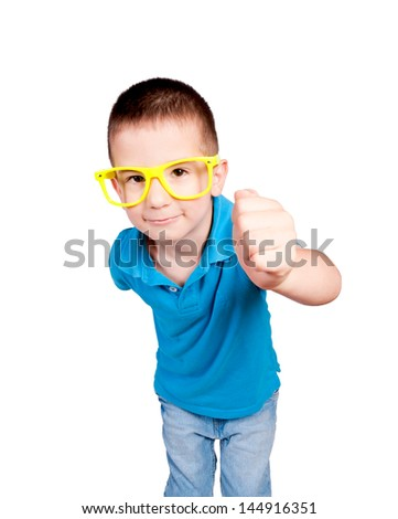 Little boy knocking isolated on white background. Selective focus on the boy head - stock photo