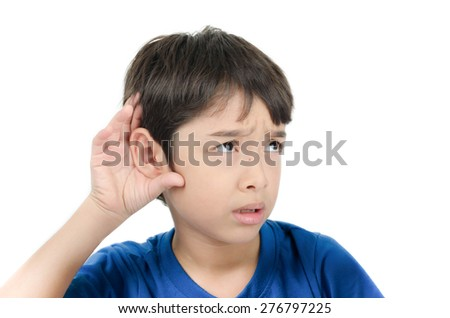 Little boy listening by hand's up to the ear on white background