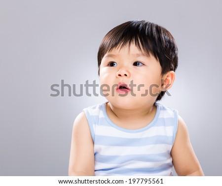 Little boy look away - stock photo