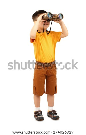 Little boy looking through binoculars isolated on white background - stock photo