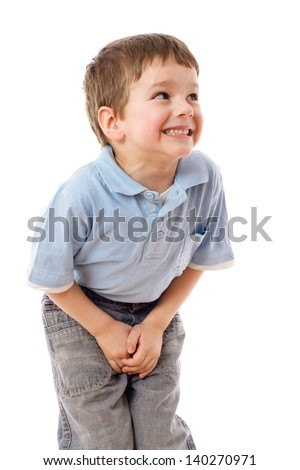 Little boy need a pee, isolated on white - stock photo