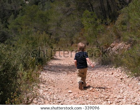 Little boy on a path in a forest - stock photo