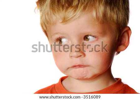 little boy on a white background - stock photo