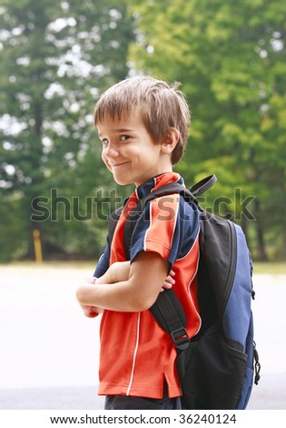 Little Boy on First Day of School - stock photo