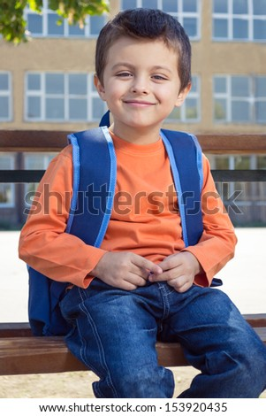 Little boy on his first day at school