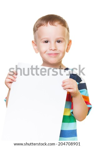 Little boy on isolated white is pleasing for help - stock photo