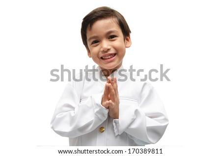 Little boy on Thai costume on white background - stock photo