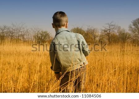 little boy on the field - stock photo