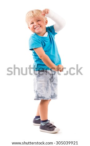 LITTLE BOY ON WHITE BACKGROUND - stock photo