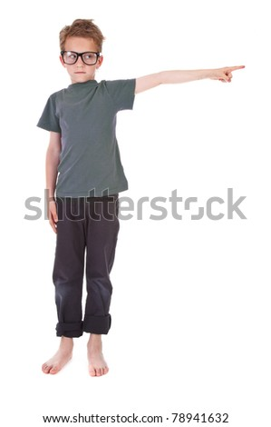 little boy on white background is showing the way - stock photo