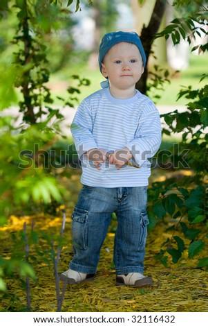 little boy outdoor portrait - stock photo
