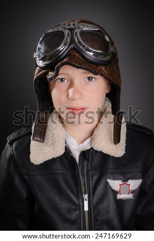 Little boy pilot Aviator - stock photo