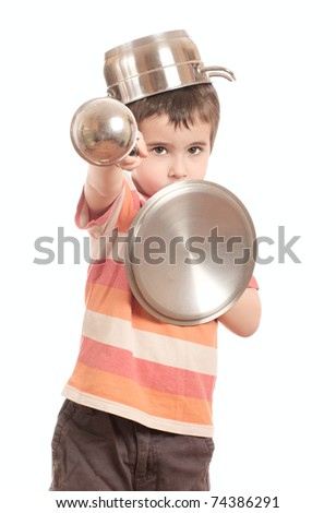 Little boy play knight with kitchen utensil isolated on white - stock photo