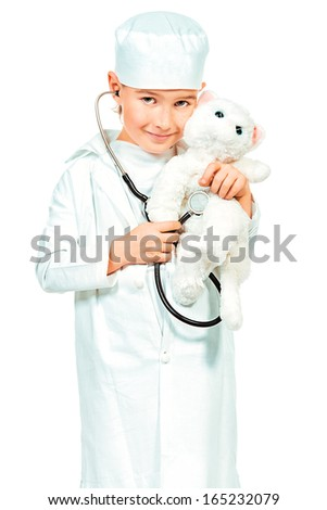 Little boy playing a doctor veterinarian. Different occupations. Isolated over white. - stock photo