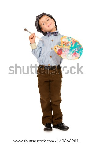 Little boy playing a painter. Different occupations. Isolated over white. - stock photo