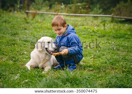 Little boy playing in forest lawn with a golden retriever.