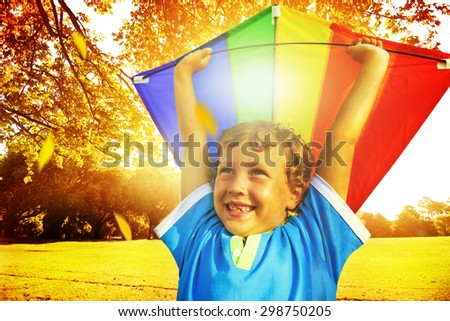 Little Boy Playing Kite Happiness Cheerful Summer Concept - stock photo