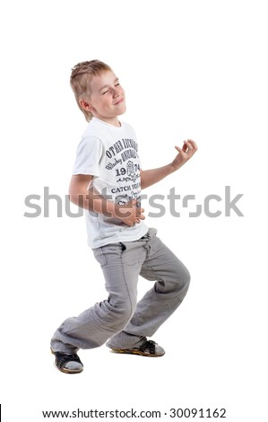 little boy playing on imaginative guitar, on white background - stock photo