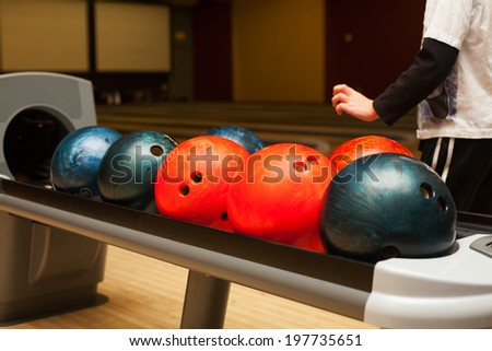 little boy playing the bowling  - stock photo