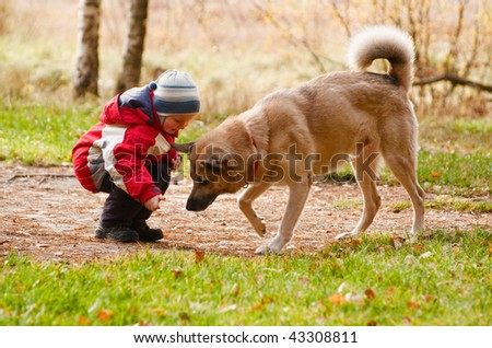 Little boy playing with his dog in autumn forest - stock photo