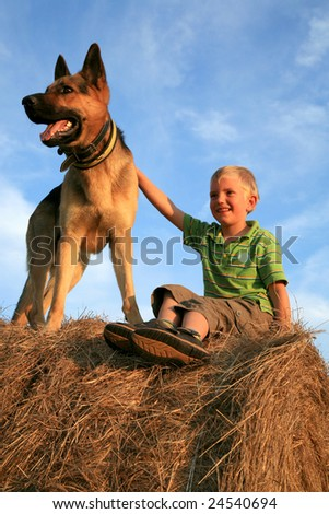 Little boy playing with the dog (Alsatian) on the meadow - summer in the country. Happiness, emotion - stock photo