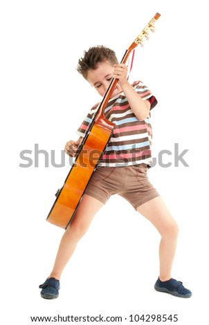 Little boy plays guitar expression isolated on white - stock photo
