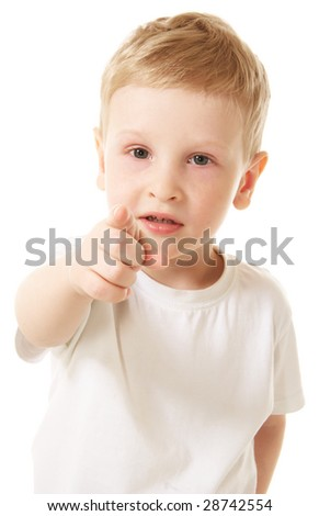 little boy pointing at you