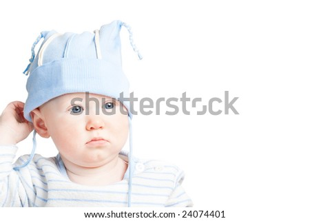 little boy portrait on white, copy space for the text - stock photo