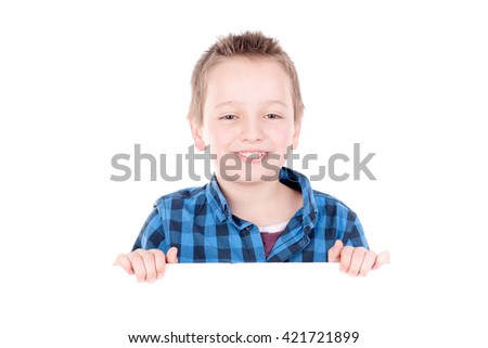 little boy posing isolated in white