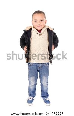 little boy posing  isolated in white background