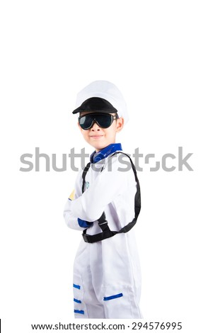 Little boy pretend as an astronaut pilot