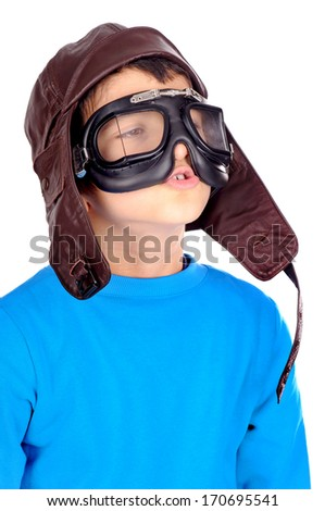little boy pretending to be aviator isolated in white