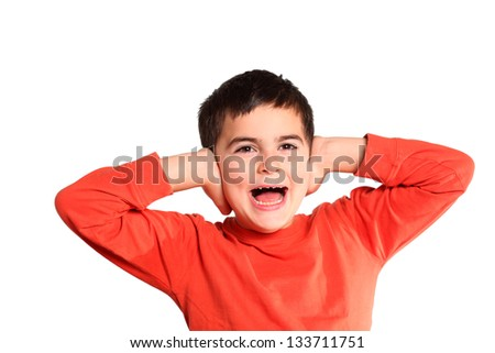 little boy putting hand on his ears - stock photo