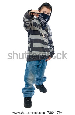 little boy rapper isolated on white background - stock photo