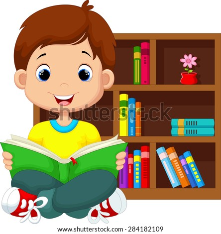 Little boy reading a book - stock photo