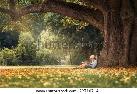 Little boy reading a book under big linden tree - stock photo