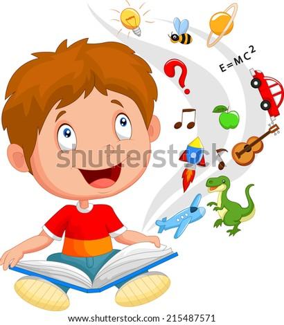 Little boy reading book education concept illustration - stock photo