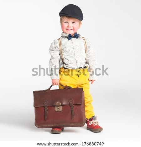 Little boy ready for school with the big smile - stock photo