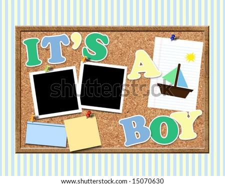 Little boy's bulletin board - stock photo